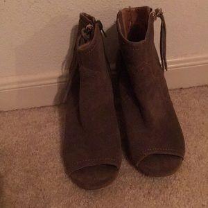 Faux suede western heels